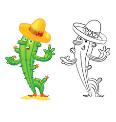 cute cartoon cactus vector image