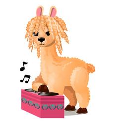 cute llama or lama glama listening to music vector image