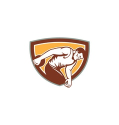 Discus thrower shield retro vector