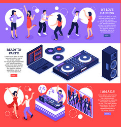 Dj music isometric banners vector