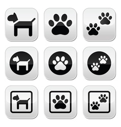 Dog paw prints buttons set vector
