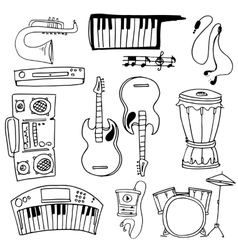 Doodle of tool music theme vector