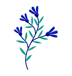 drawn tree branches blue green leaves vector image