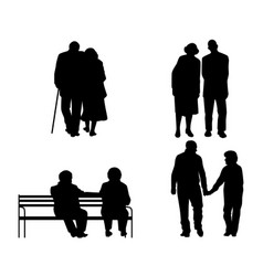 Elderly couples silhouettes vector