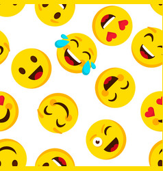 emoticon seamless pattern emotions cartoon emojis vector image