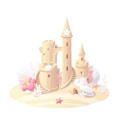 Fantasy castle sand sandcastle vector