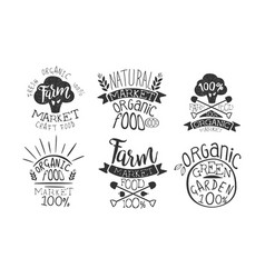 farm market retro labels set fresh organic vector image