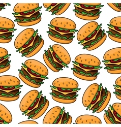 Fast food cheeseburgers seamless pattern vector image