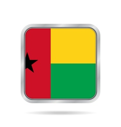 flag of Guinea-Bissau metallic gray square button vector image