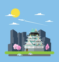 Flat design of Japan castle vector