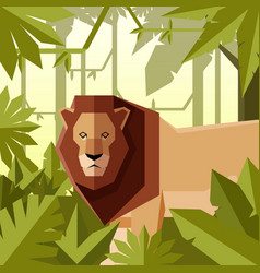 flat geometric jungle background with lion vector image