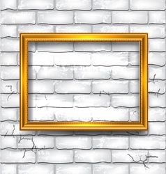 Frame on white brick wall vector