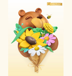 funny bear with bouquet wildflowers 3d vector image