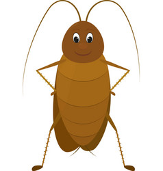 Funny brown cockroach standing and smiling on a vector