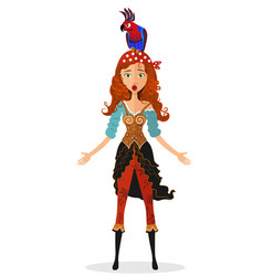 funny surprised red-haired pirate girl vector image