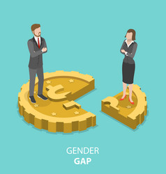 Gender gap flat isometric concept vector