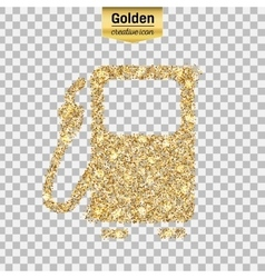 Gold glitter icon of gas station isolated vector