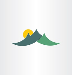 Green mountains and sun icon vector