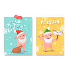 greeting pig in hat and in santa beard vector image