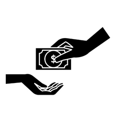 Hand gives money icon simple style vector image