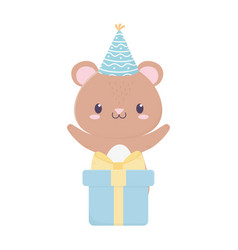Happy birthday bear with party hat and gift vector