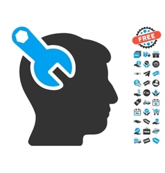 Head Neurology Wrench Icon With Free Bonus vector