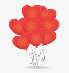 Hearth red ballons icon vector