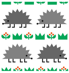 Hedgehogs colored geometric shape seamless pattern vector
