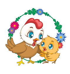 hen and chick with flower background vector image