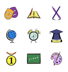 High education icons set cartoon style vector
