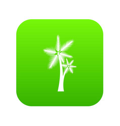 High palm tree icon digital green vector