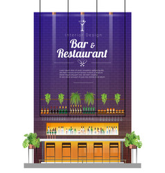 Interior background with modern pub bar counter vector