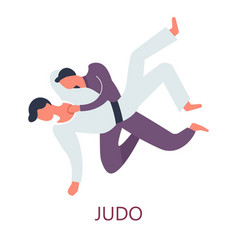 Judo fighting japanese sport attack and defense vector