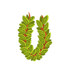 letter u english alphabet made of tree branches vector image