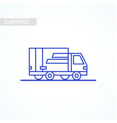 line icon- delivery van outline icon on white vector image