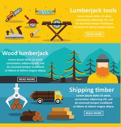 lumberjack tools banner horizontal set flat style vector image