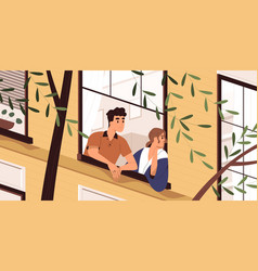 man and woman looking out window breathing vector image