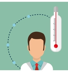 man medical staff thermometer vector image