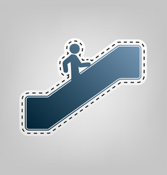 Man on moving staircase going up blue vector