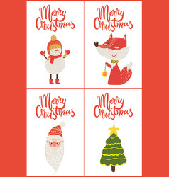 merry christmas posters titles vector image