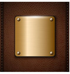 Metal badge on brown leather background vector
