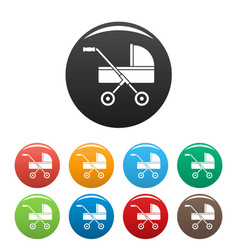 modern baby carriage icons set color vector image
