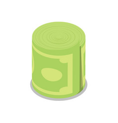 money roll isolated isometric 3d icon vector image