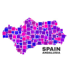 Mosaic andalusia province map of square items vector
