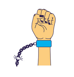 Nice hands fist up with metallic chain vector
