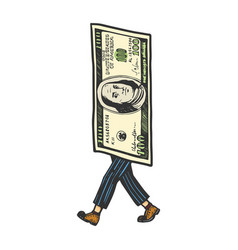 One hundred dollars walk sketch engraving vector