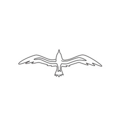 one single line drawing wild seagull vector image