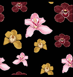 orchid phalaenopsis floral seamless pattern vector image