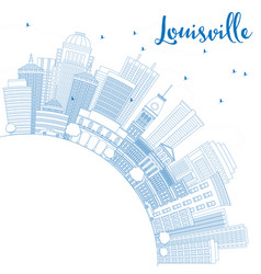 Outline louisville skyline with blue buildings vector