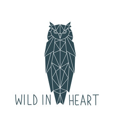 owl in a geometric style with the inscription vector image